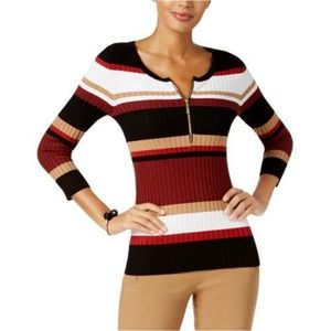 INC International Concepts Striped Ribbed Sweater